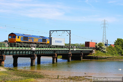 66732 heads west through Manningtree on the: 4M23 10:45 Felixstowe to Hams Hall  04/06/13
