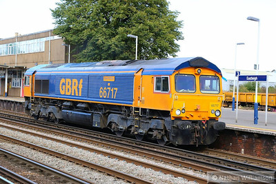 66717 heads west through Eastleigh on the: 0O65 09:58 Peterborough to Eastleigh Works  16/09/13