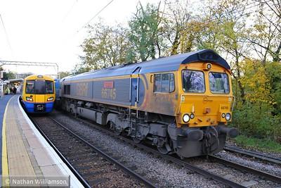66745 heads west through Gospel Oak on: 3S70 07:20 Broxbourne to Broxbourne  17/11/14