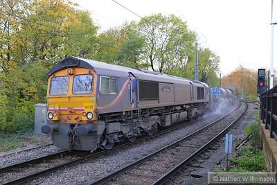 66726 heads west through Gospel Oak on the rear of: 3S70 07:20 Broxbourne to Broxbourne  17/11/14