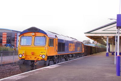 66711 stands in Newton Abbot at 06:43am having ran round the: 6F31 22:56 Cardiff Tidal to Exeter Alphington Road  15/09/11