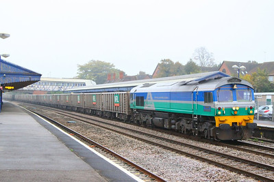 59001 heads west through Newbury on the: 7C77 12:40 Acton Yard to Merehead  22/10/12