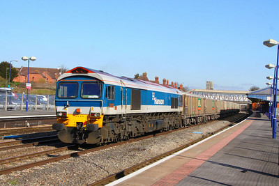 59104 heads west through Newbury on the: 6C77 12:40 Acton Yard to Merehead  06/03/12