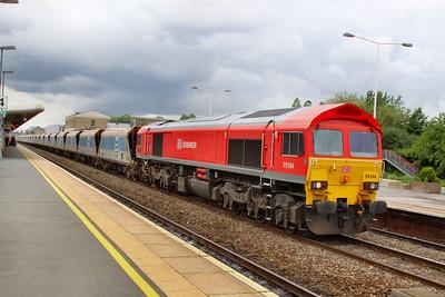 59206 heads east through Swindon, to run round on the: 7B12 14:09 Merehead to Wootton Bassett  10/07/12