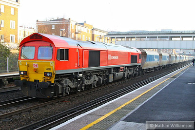 59205 heads north through Kensington Olympia working the: 6V18 12:27 Hither Green to Whatley  12/12/13