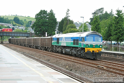 59001 heads north through Totnes on the: 7Z27 11:13 Burngullow to Riverside  24/06/13