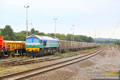 59005 arrives into Westbury Yard to run round, working the: 6V12 15:38 Woking Down Yard to Merehead  20/09/13