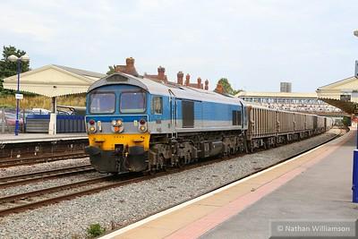 59004 heads west through Newbury on: 7C77 12:40 Acton Yard to Merehead  12/08/15