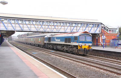 59101 heads east through Newbury on the: 7A09 07:12 Merehead to Acton Yard 22/03/11  View the video at: http://www.youtube.com/watch?v=UvQUuDN3A60