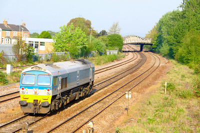 59002 heads south through Taunton light engine working the: 0W41 06:32 Westbury to Riverside  23/04/11
