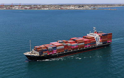 MARGARET RIVER BRIDGE [9550383] 21,925dwt 1708teu '09 {Taiyo Kaiun_Ocean Network Express} dep Fremantle 110120 PB2