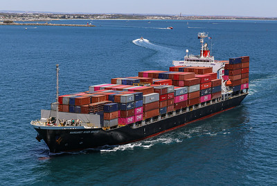 MARGARET RIVER BRIDGE [9550383] 21,925dwt 1708teu '09 {Taiyo Kaiun_Ocean Network Express} dep Fremantle 110120 PB5