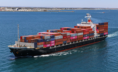 MARGARET RIVER BRIDGE [9550383] 21,925dwt 1708teu '09 {Taiyo Kaiun_Ocean Network Express} dep Fremantle 110120 PB6