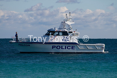 Police boat out whale watching.