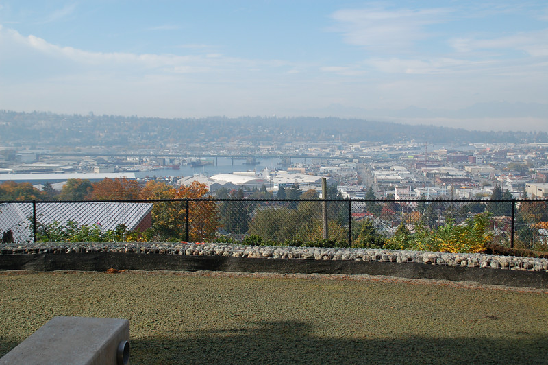 View from Fremont Peak Park - to the west,  to the Olympic Mountains, the ship canal and the Ballard Bridge.