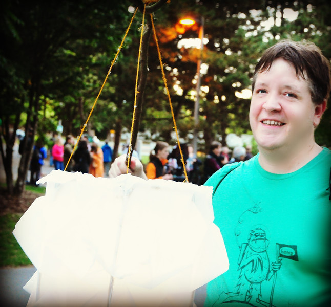 Jeff with his handmade origami lantern