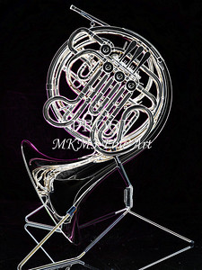 Dark Drawing of French Horn 433.2059