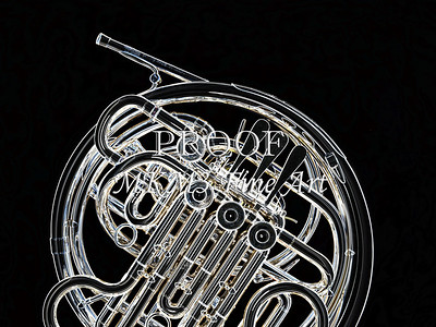 Dark Drawing of French Horn 427.2059