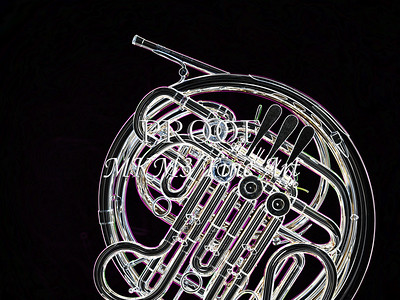 Dark Drawing of French Horn 434.2059