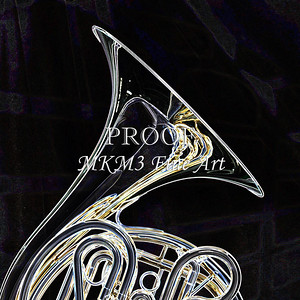 Dark Drawing of French Horn 422.2059