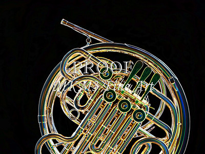 Dark Drawing of French Horn 429.2059