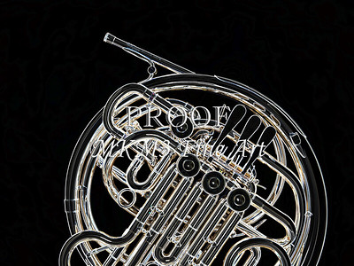 Dark Drawing of French Horn 431.2059