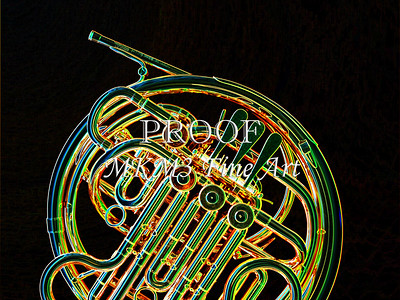 Dark Drawing of French Horn 426.2059