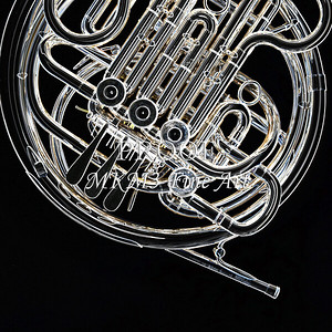 Dark Drawing of French Horn 428.2059