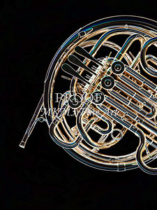 Dark Drawing of French Horn 430.2059