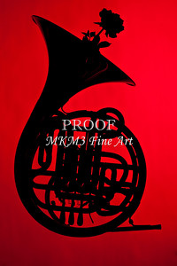 French Horn and Rrse Silhouette on Red 2499.01