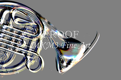 French Horn Embossed Metal Print 2082.39