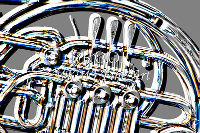 Metal Wall Art French Horn Rotors Embossed 2082.34