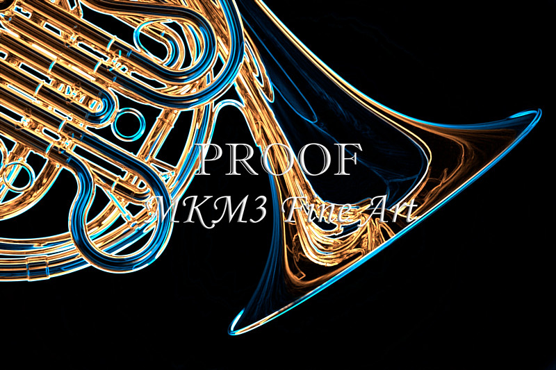 French Horn Dark Drawing Art Prints - ImagePlace