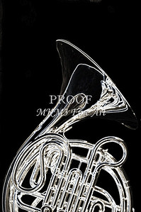 French Horn Drawing Print Wall Art 2083.22