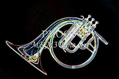 Antique French Horn Drawing Print 2083.13