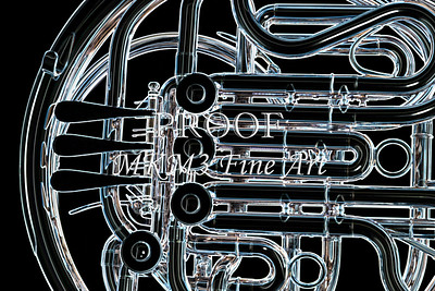 Metal Art French Horn Drawing Print 2083.23