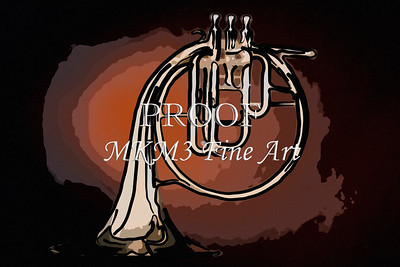 Classic Antique French Horn Painting 2081.44
