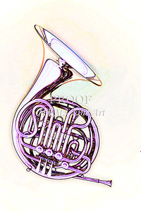 Fine Art French Horn Watercolor Print 2084.36