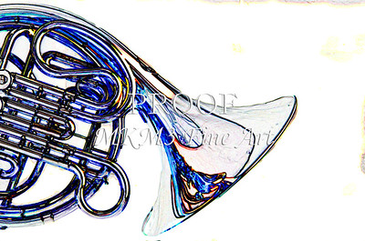 French Horn in Blue Watercolor Print 2084.42