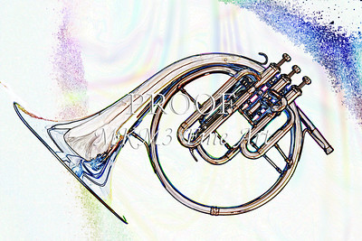 Music Art French Horn Watercolor Print 2084.40