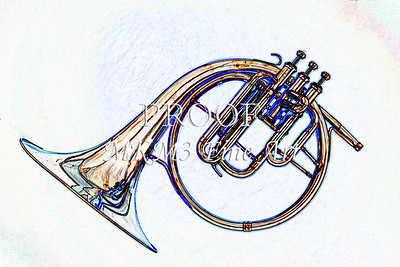 French Horn Antique Watercolor Print 2084.34