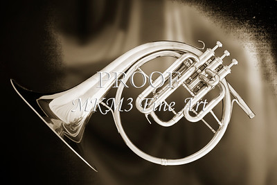 French Horn Antique Sepia Wall Art Print 2080.28