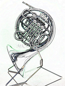 Drawing of French Horn 341.2059