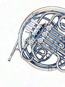 Drawing of French Horn 338.2059