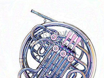 Drawing of French Horn 337.2059