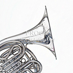 Drawing of French Horn 330.2059