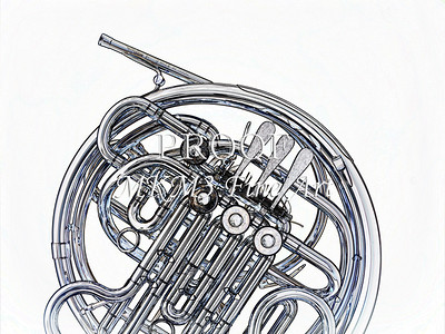 Drawing of French Horn 331.2059