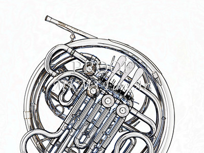 Drawing of French Horn 334.2059