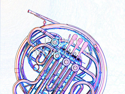 Drawing of French Horn 333.2059