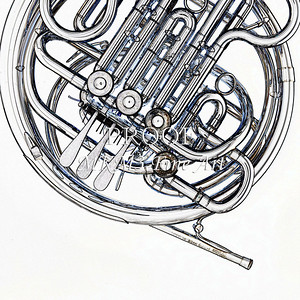 Drawing of French Horn 336.2059
